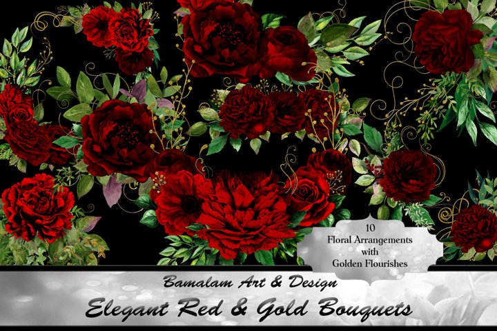 Elegant Red & Gold Floral Bouquets