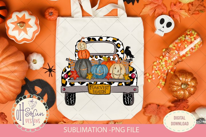 pumpkin truck animal print sublimation PNG file