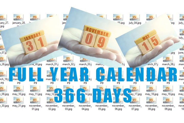 Full calendar. 366 days in separate jpg.
