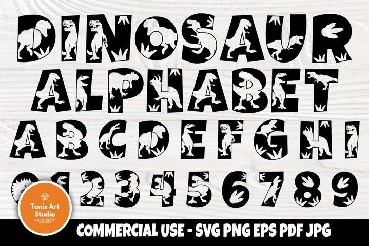 Dinosaur Alphabet Clipart, Monogram Letters Svg, Font Svg