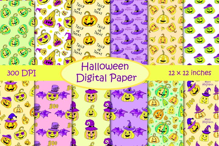 Halloween Pumpkins Digital Paper Pack - Jack O Lantern Faces
