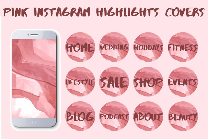 Pink instagram highlights covers