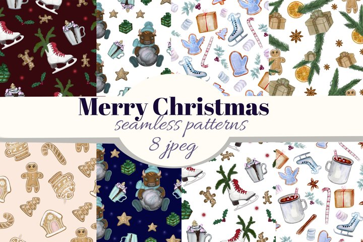 Merry Christmas seamless patterns. New Year digital paper.