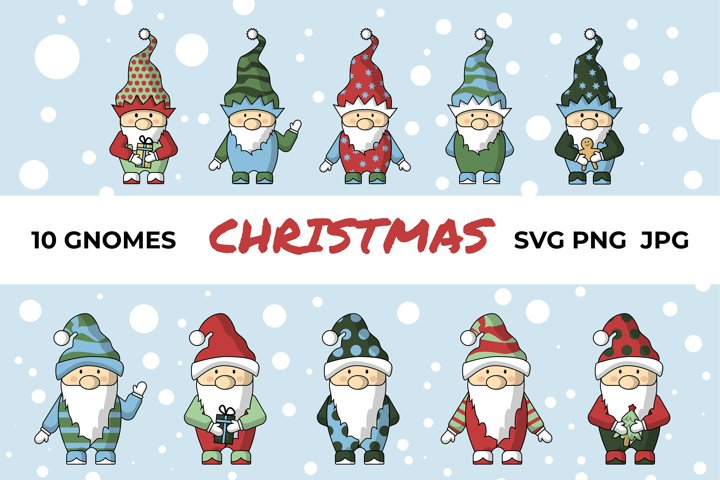 Cute digital vector Christmas gnomes SVG clipart