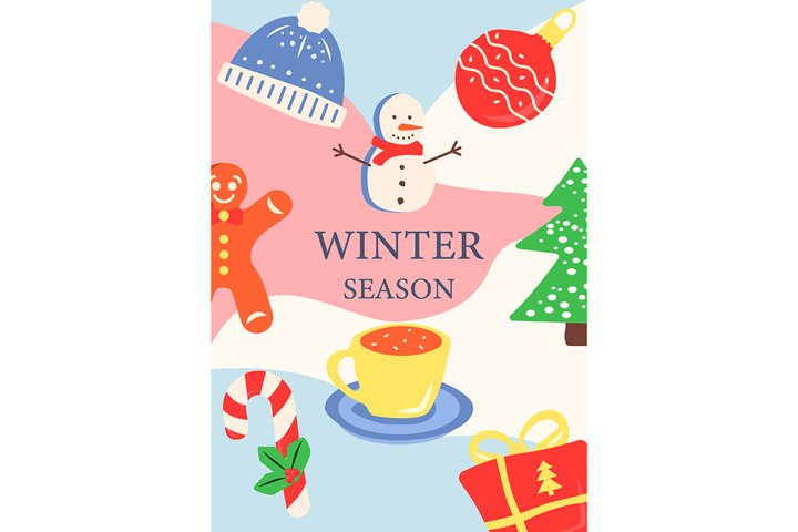 Seasonal winter holiday abstract poster template