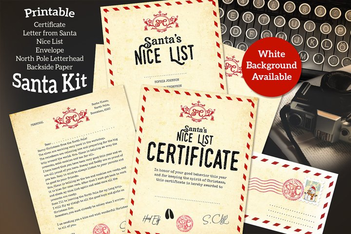 Typewriter Santa Kit - Printable - for Handwriting