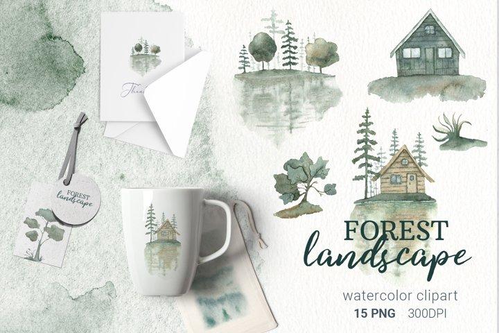 Watercolor landscape, watercolor forest scene png