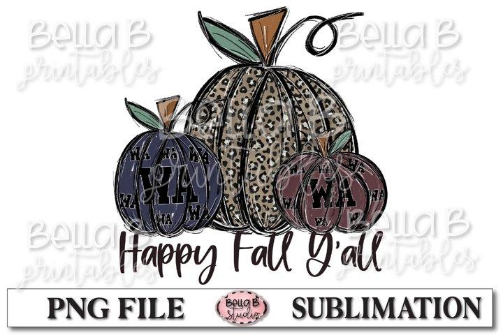 Washington Fall Pumpkins Sublimation Design