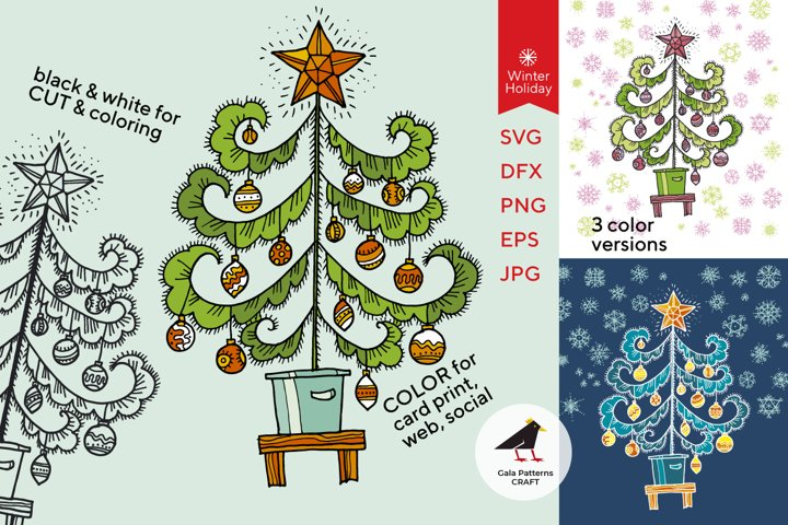 Christmas tree - SVG & PNG cool retro vibes print