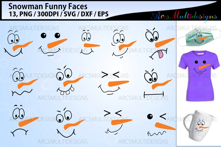 Snowman faces svg bundle / Snowman funny faces