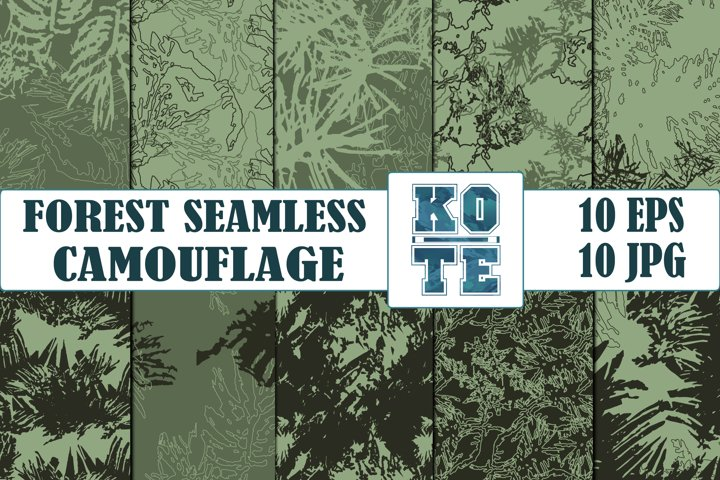 10 Seamless Military Pine Forest Camouflage