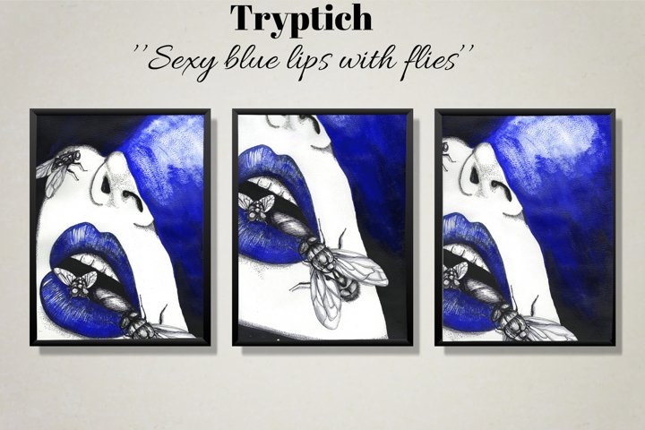 Triptych. Sexy blue lips with flies. Printable lodge art.
