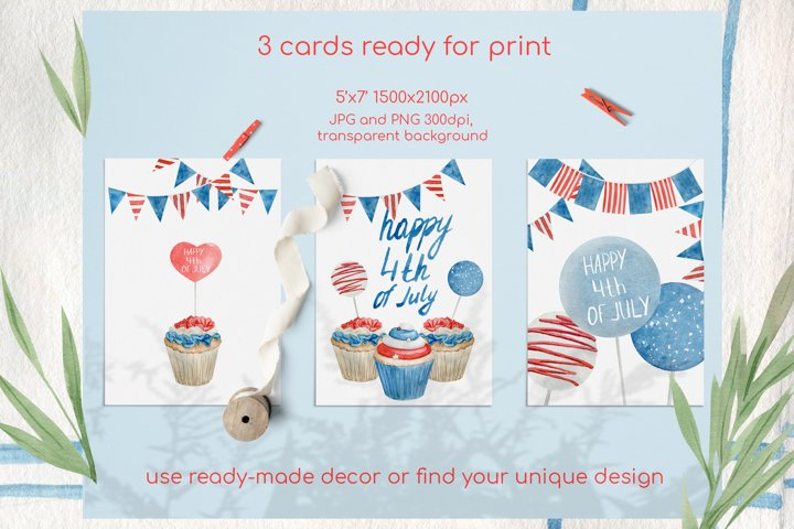 Watercolor 4th of july cupcakes clipart set example 3