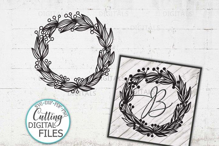 Wreath sign Floral Laurel Leaves Monogram frame SVG cut out