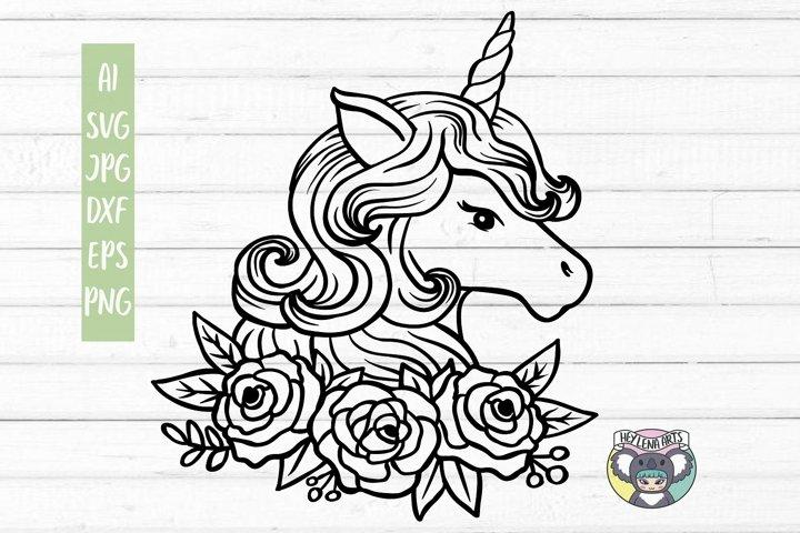 Unicorn svg, Floral Wreath svg, Files for Cricut, Cut File