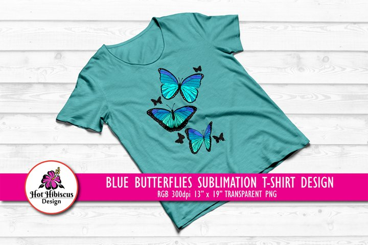 Blue Butterfly Sublimation Design for T shirts