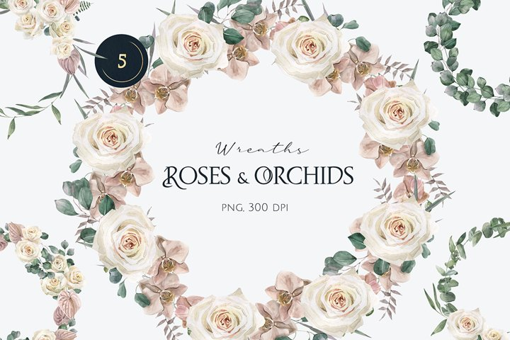 Watercolor Roses and Orchids Wreaths