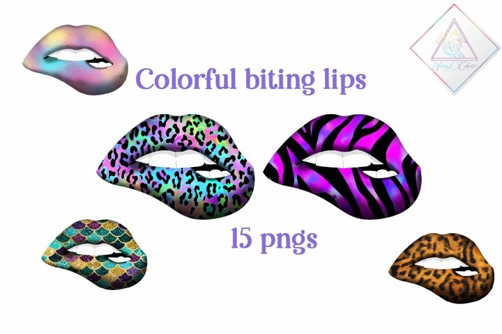 Colorful Biting Lips Clipart
