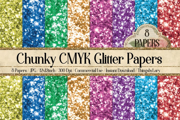 8 Sparkle Chunky CMYK Glitter Texture Digital Papers