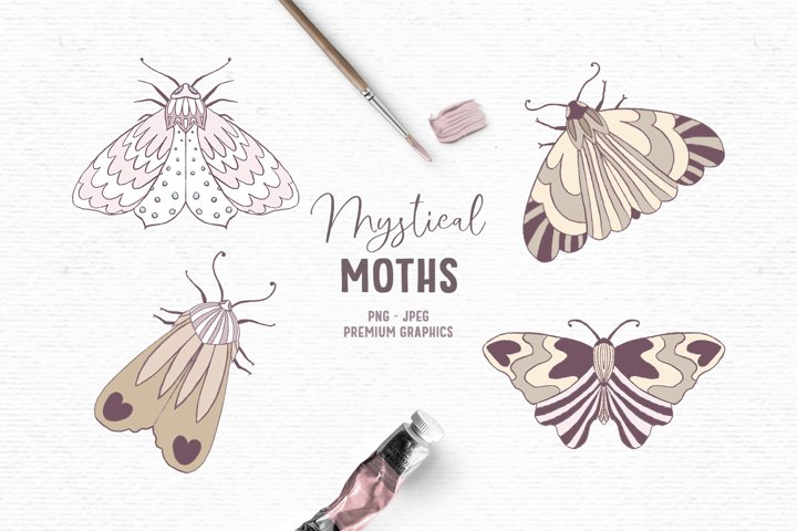 Hand-drawn boho clipart | Whimsical moth clipart images