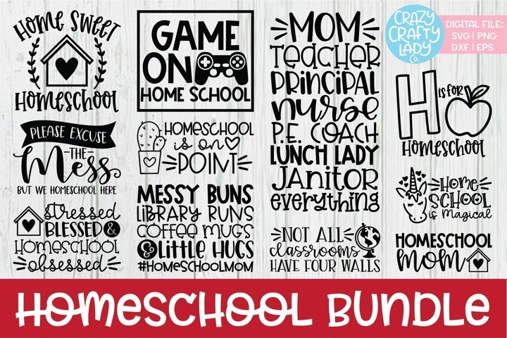 Homeschool SVG DXF EPS PNG Cut File Bundle
