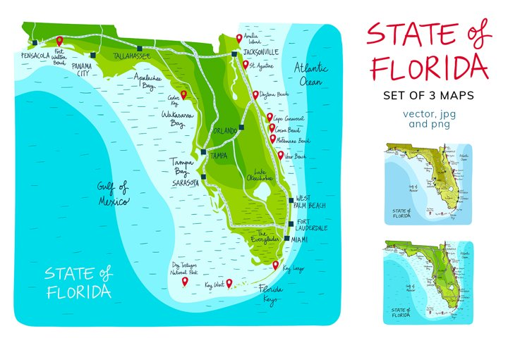 Maps of Florida Hand drawn collection
