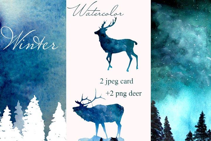 Winter cards , deer , Christmas tree