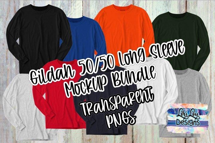 Gildan Long Sleeve Shirt Mock Up Bundle PNG Transparent