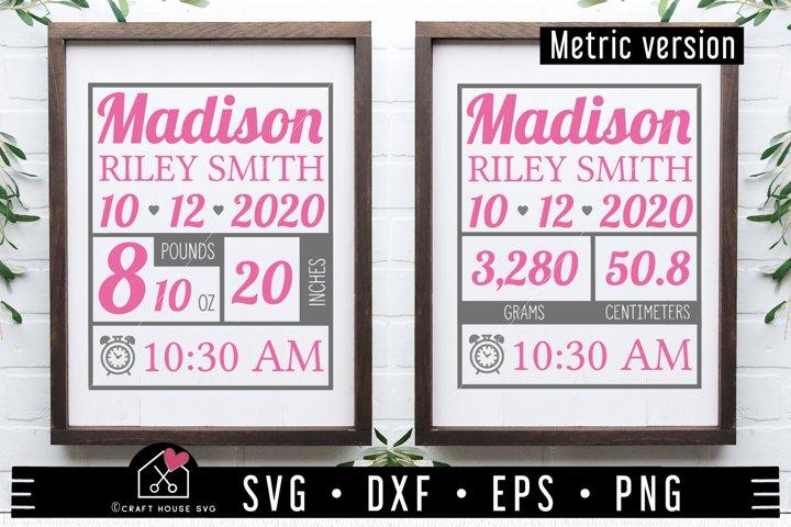Baby SVG file | Baby Birth Stat SVG MF97