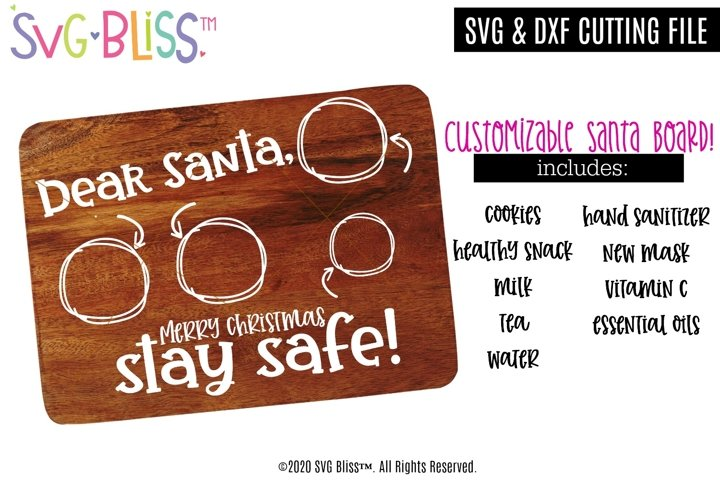 Customizable Santa Board Template- SVG Cut File- Stay Safe