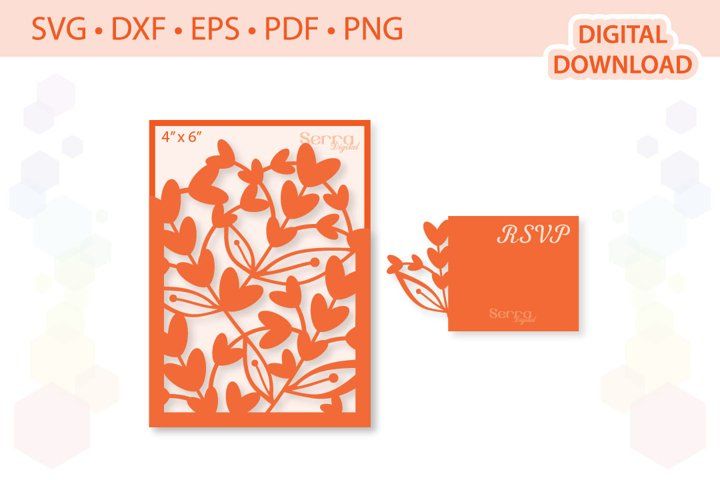 4 x 6 Floral Wedding Invitation SVG DXF EPS PDF PNG
