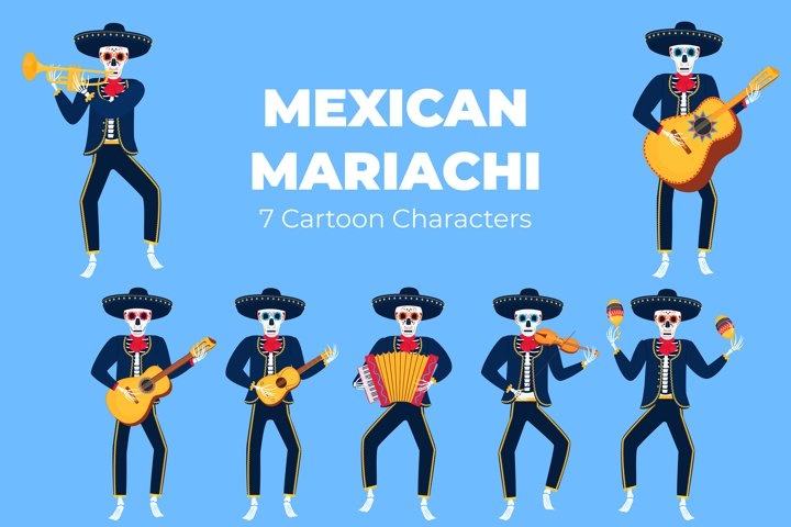 Mexican mariachi. Funny skeletons for the Day of the Dead.