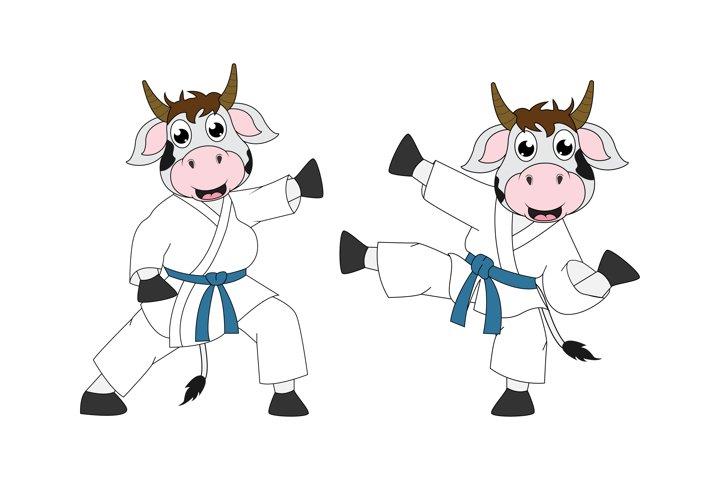 cute cow cartoon karate