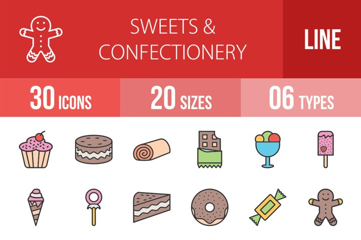 30 Sweets & Confectionery Filled Line Icons Season II