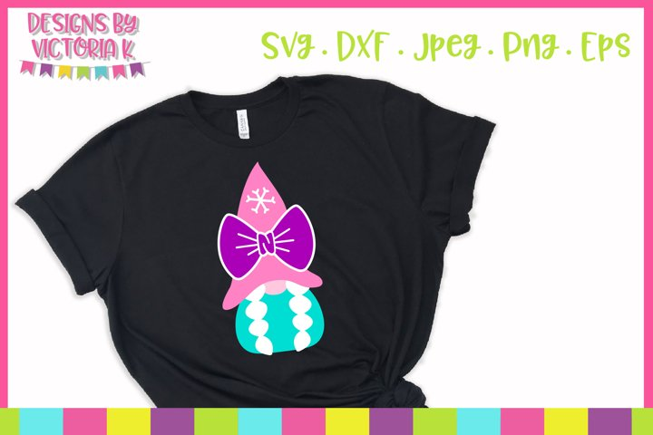 Christmas gnome with bow, SVG, DXF
