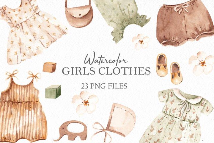 Watercolor Girls Clothes Cipart