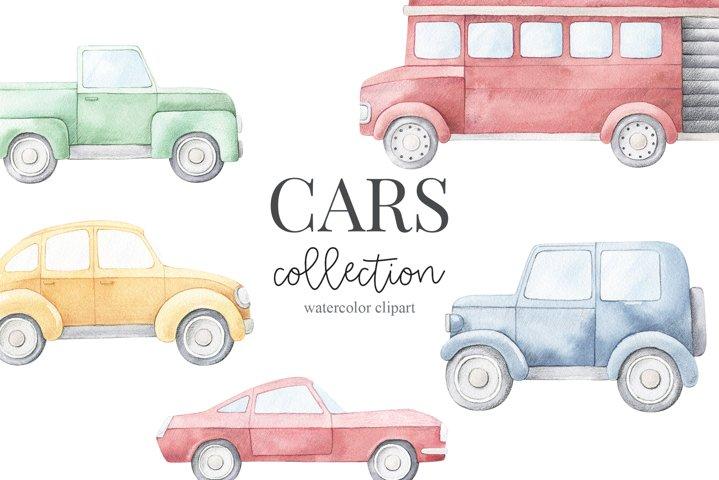 Watercolor cars set