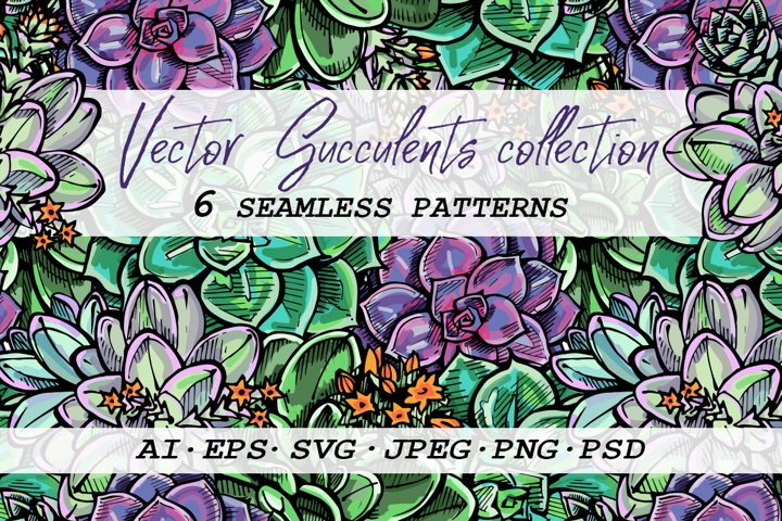 6 seamless patterns with succulents|SVG AI EPS PSD PNG JPEG