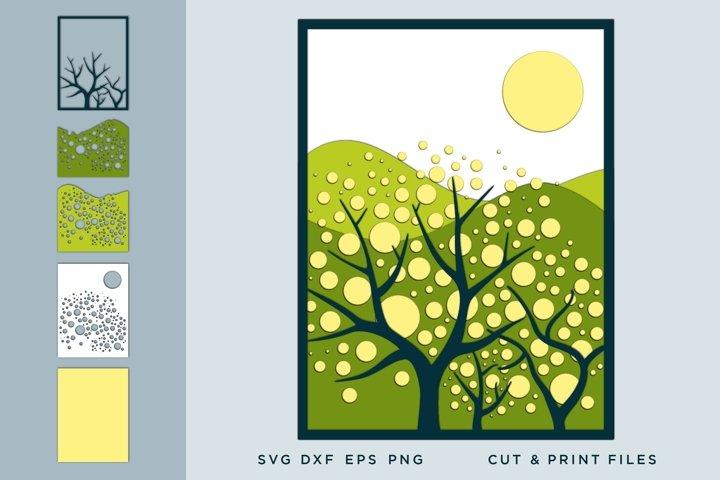 Wall art 3D, Landscape SVG, File for Cricut, Laser, Layered