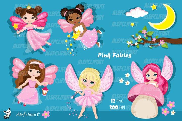 Pink Fairy Clipart. Cute Fairies in Fairyland