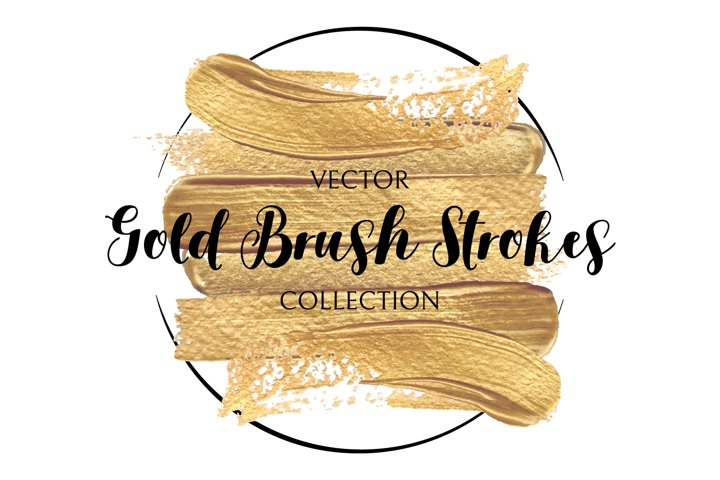 Gold paint brush strokes template. Hand draw Design Elements