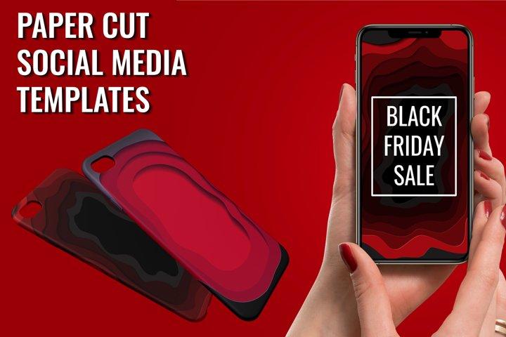 Black Friday Sale Paper Cut Templates Set