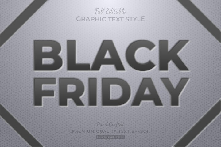 Black Friday Black Embossed Editable Text Style Effect