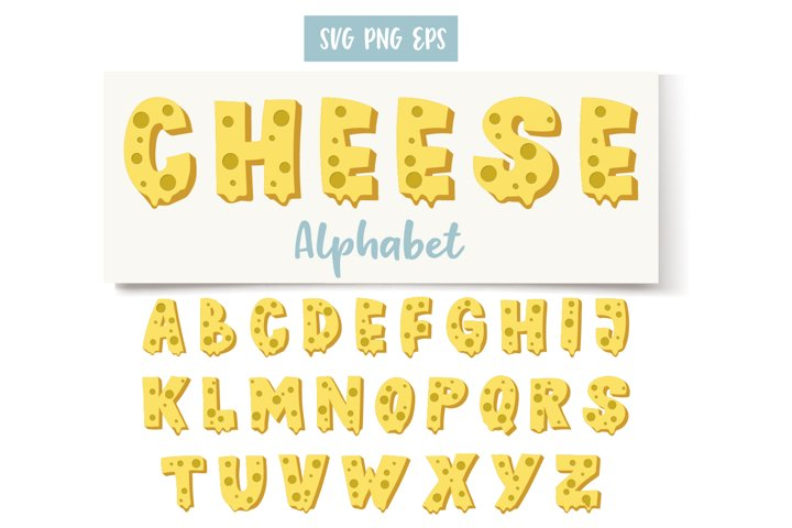 Cheese Alphabet, Digital Letters, Decorative SVG, PNG