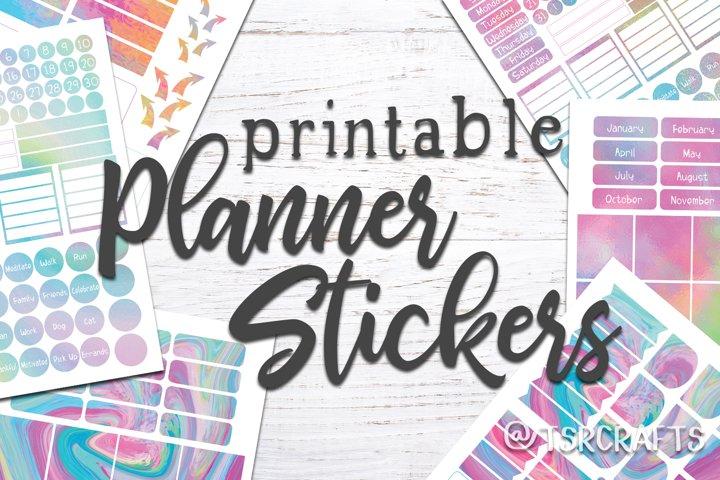 Planner Stickers Template - Rainbow / Unicorn Set