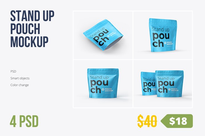 4 PSD Zip Stand-up Pouch Mockup square