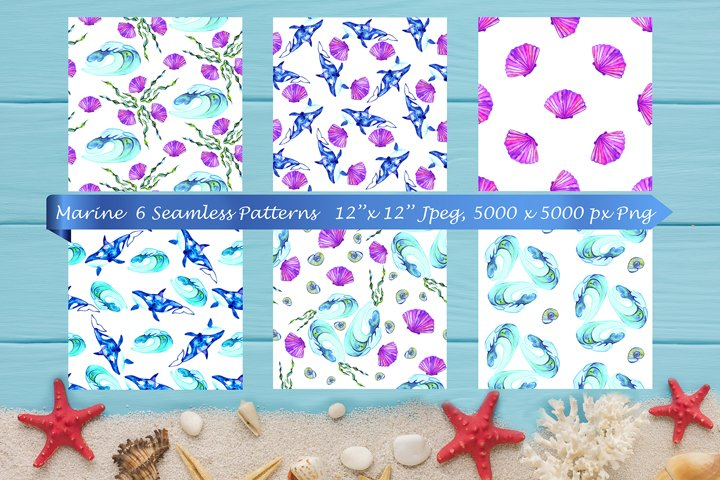 Ocean patterns. Marine. Seamless patterns. Digital paper.