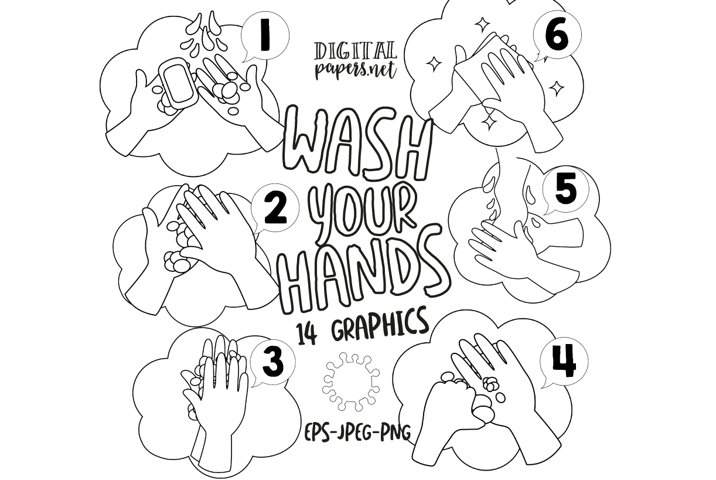 Wash your hands Outlines Clipart