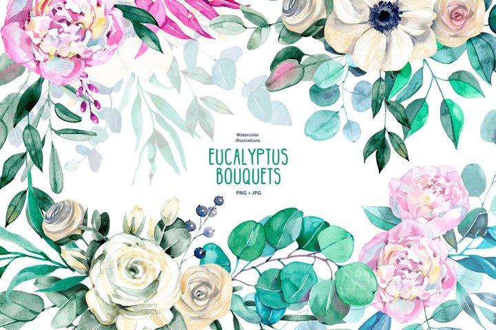 Watercolor eucalyptus bouquets