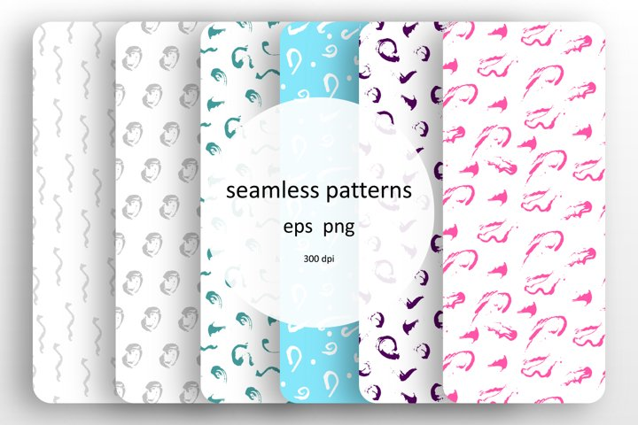 6 seamless patterns set with paints splashes